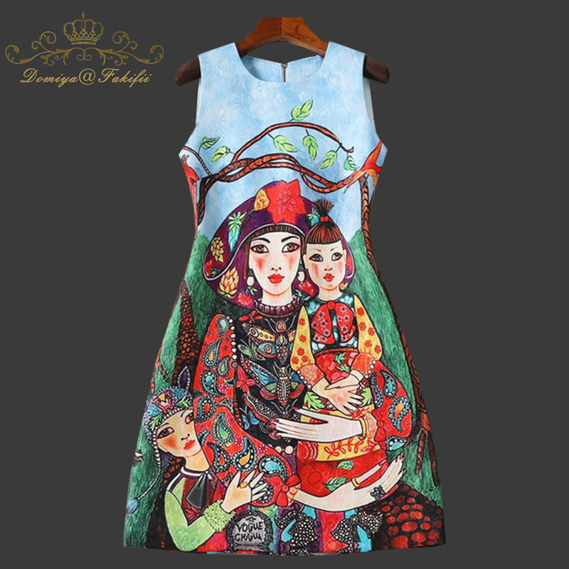 цена на 2018 Summer Fashion Runway Dress Women Sleeveless Beading Diamond Print Jacquard Vintage Party A Line Short Dress Family Clothes