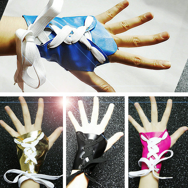 Ds gloves slip-resistant jazz dance leather personalized gloves 0435