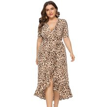 Wipalo Vrouwen Mode Plus Size 6XL Leopard V-hals Ruches Jurk Sexy Club Party Split Jurk Dames Casual Zomer OL vestido 2019(China)