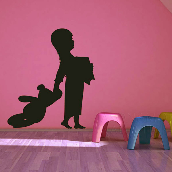 Story <font><b>Time</b></font> - <font><b>Girl</b></font> with <font><b>her</b></font> Teddy Bear and Book - Vinyl Wall Art Decal Wall decal, Vinyl Sticker, 53*60CM Free shipping