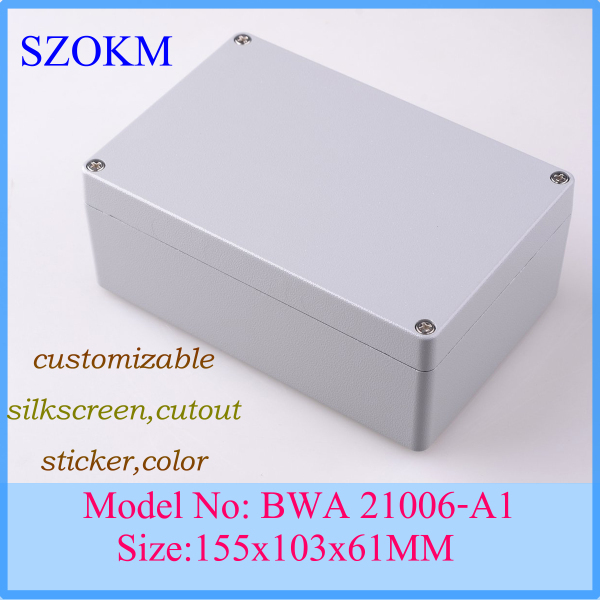 1 piece Aluminum enclosure waterproof aluminium extrusion aluminum case junction box  155x103x61mm free shipping 1piece lot top quality 100% aluminium material waterproof ip67 standard aluminium box case 64 58 35mm