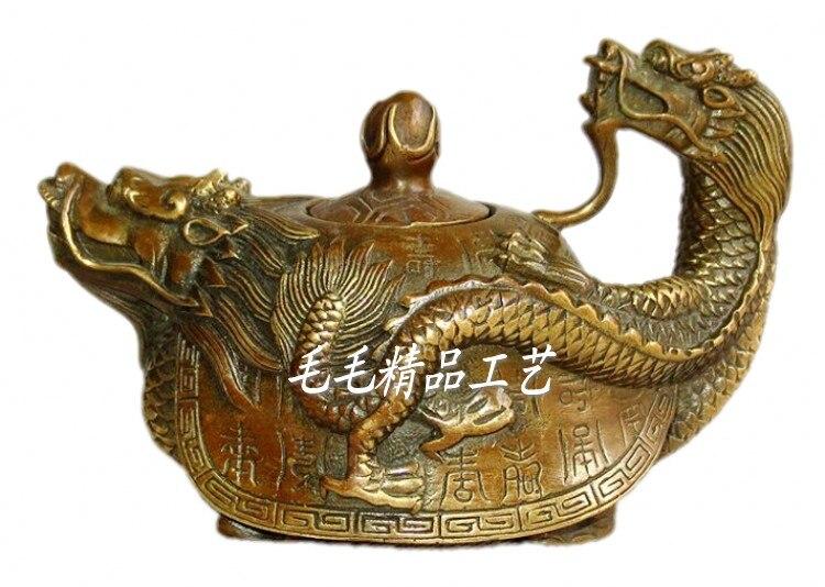 Offre de théière antique en laiton pur bouilloire Baishou dragon tortue ornements en laiton artisanat cadeau décoration Feng Shui