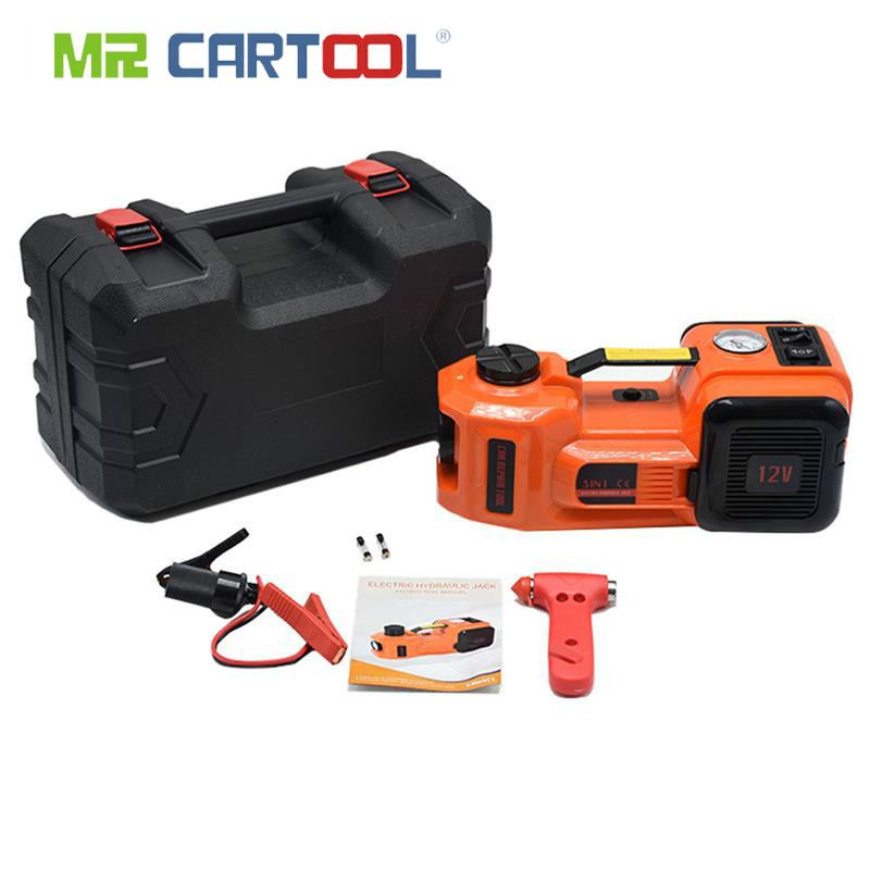 Car Jacks 12V DC 3.5 Ton 7716lb Electric Hydraulic Floor Jack Tire Inflator Pump and LED Flashlight 3 in 1 Set With Safe Hammer