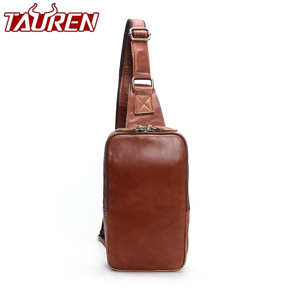 Men's Fashion Retro 100% Genuine Leather Leisure Travel Bag Shoulder Messenger Bag Man Chest Harness Chest Pocket contrast panel chest pocket tee