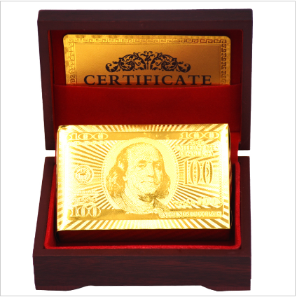 New 24k Carat Gold Foil Plated Playing Cards Gift Collection Certificate