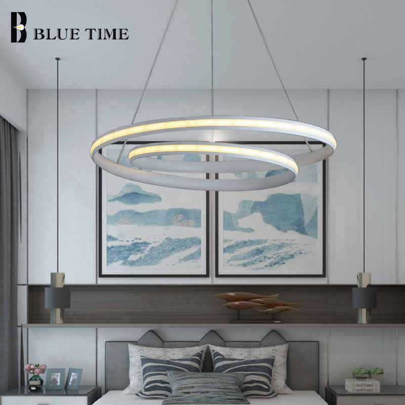 Wiszące lampy nowoczesne Led żyrandol Foyer salon jadalnia sypialnia nabłyszczania biały i czarny żyrandol lampy sufitowe