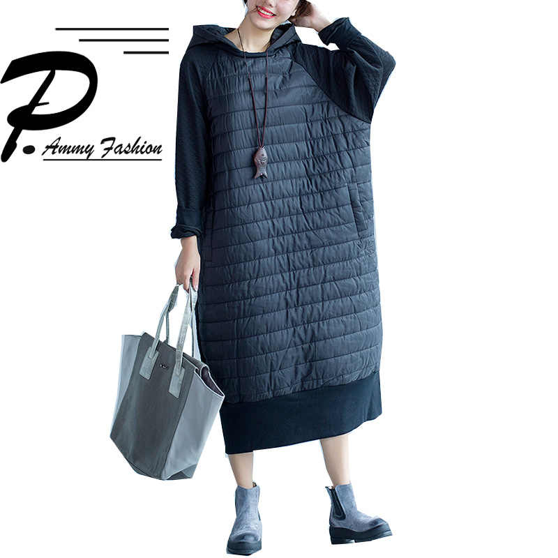 Fashion Plus Size Hooded BatwingSleeve Quilted Cotton Mid-Long Dress  Women s Winter Lagenlook Hoodies Tunic a2521a6529ca