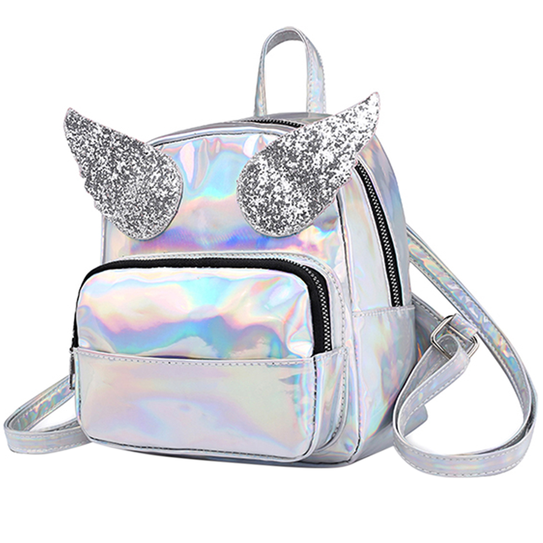Luggage & Bags Backpacks Humble Female Hologram Laser Pu Leather Backpacks Beautiful Angel Wings Rucksack Girls Pure Color Shoulder Bags Large Capacity Backpack