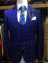 Latest Coat Pant Designs Classic Plaid Suit Men Royal Blue Wedding Suits For Formal Tuxedos Party Business 3 Pcs