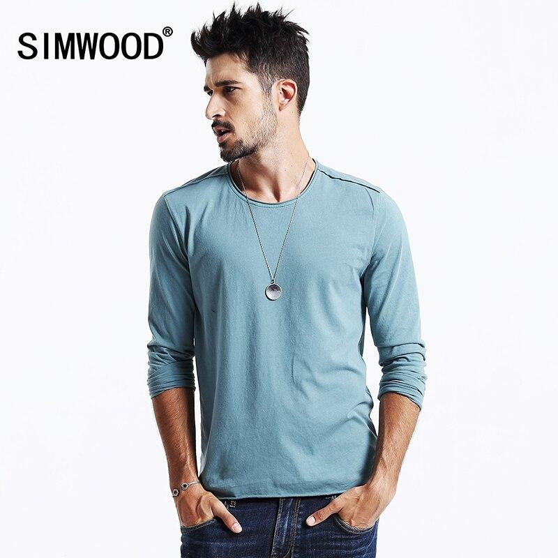 simwood бренд одежды 2017 пишет прибытие весна футболка с длинным рукавом мужчины причинно мода молодая 100% хлопок tl3505