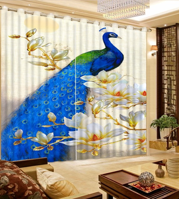 blackout for living arrival european custom peacock made room new embroidered item drapes colors home curtains dihin
