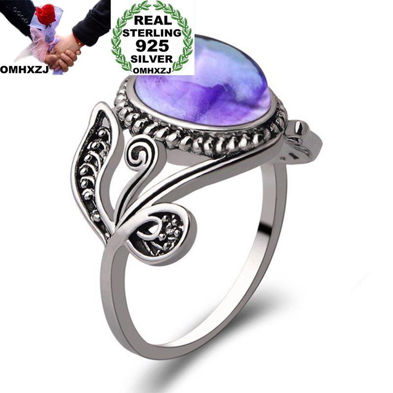 OMHXZJ Wholesale European Fashion Woman Man Party Wedding Gift Silver Purple Amethyst Taiyin Ring RR309