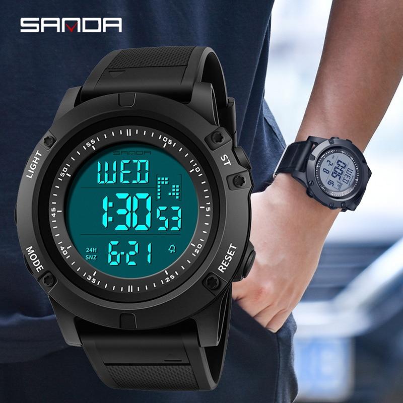 Reloj deportivo para hombre militar SANDA reloj Digital LED cuenta regresiva a prueba de golpes relojes electrónicos reloj Masculino resistente al agua