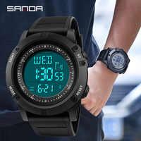 SANDA Military Männer Sport Uhr LED Digital Uhr Countdown-stoßfest Wasserdicht Relogio Masculino Chronos Elektronische Uhren