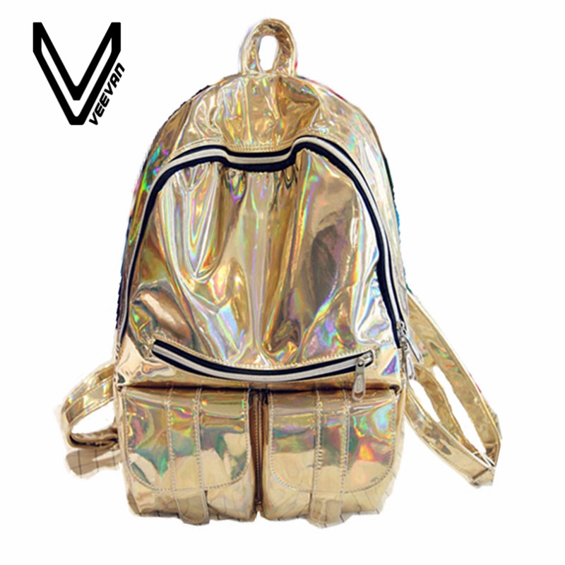 The best gift of 2017 new silver holographic laser backpack PU Backpack Bag fashion color multi