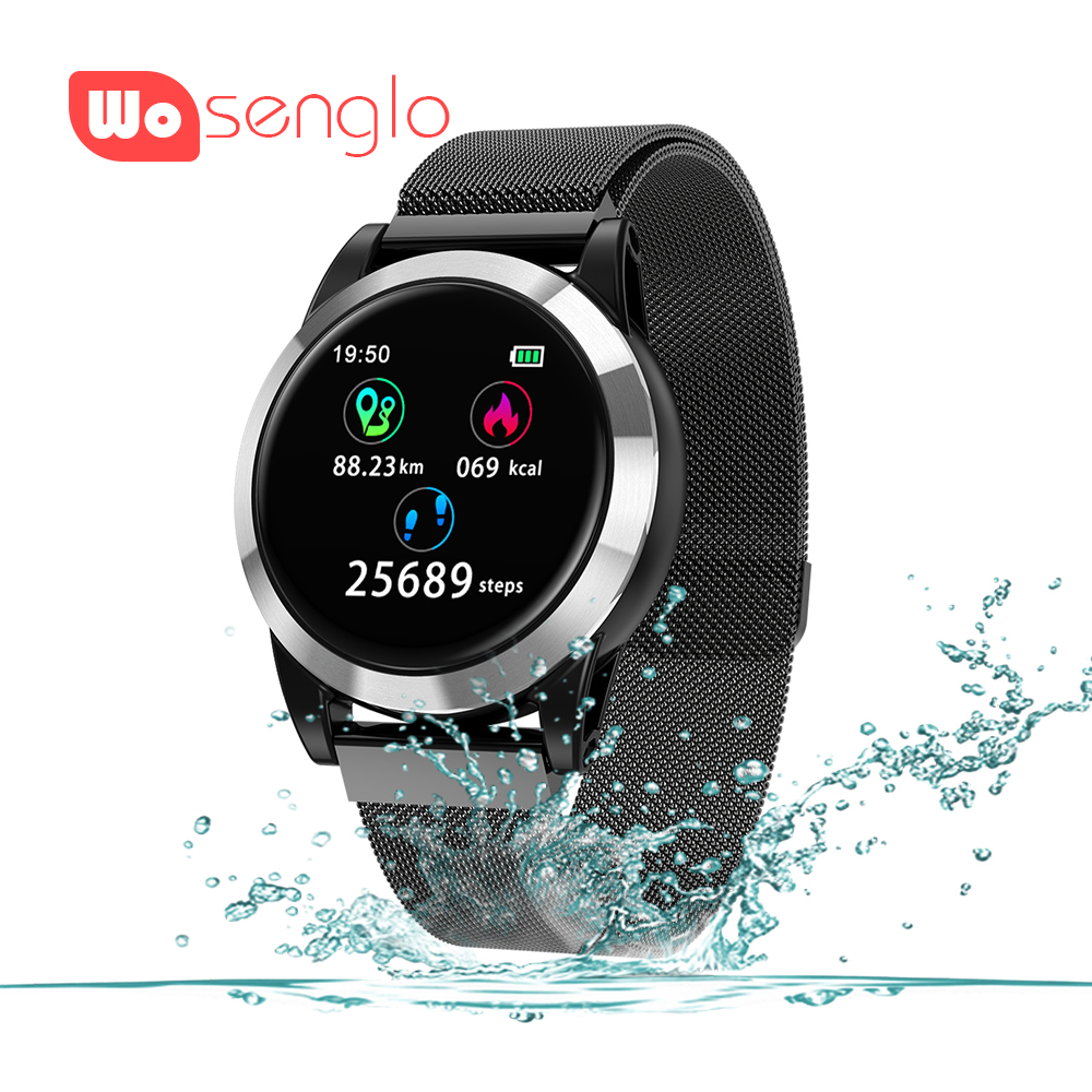 Sport smart Watch Bracelet Metal strap Bluetooth Wirstband Fitness Tracker IPS Color Single touch Alarm Clock