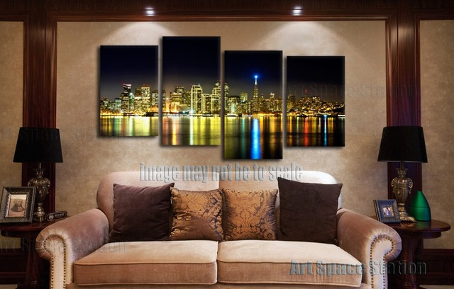NO FRAME 4 Piece San Francisco Skyline Photo City Night Poster Wall Art  Painting Pictures Print