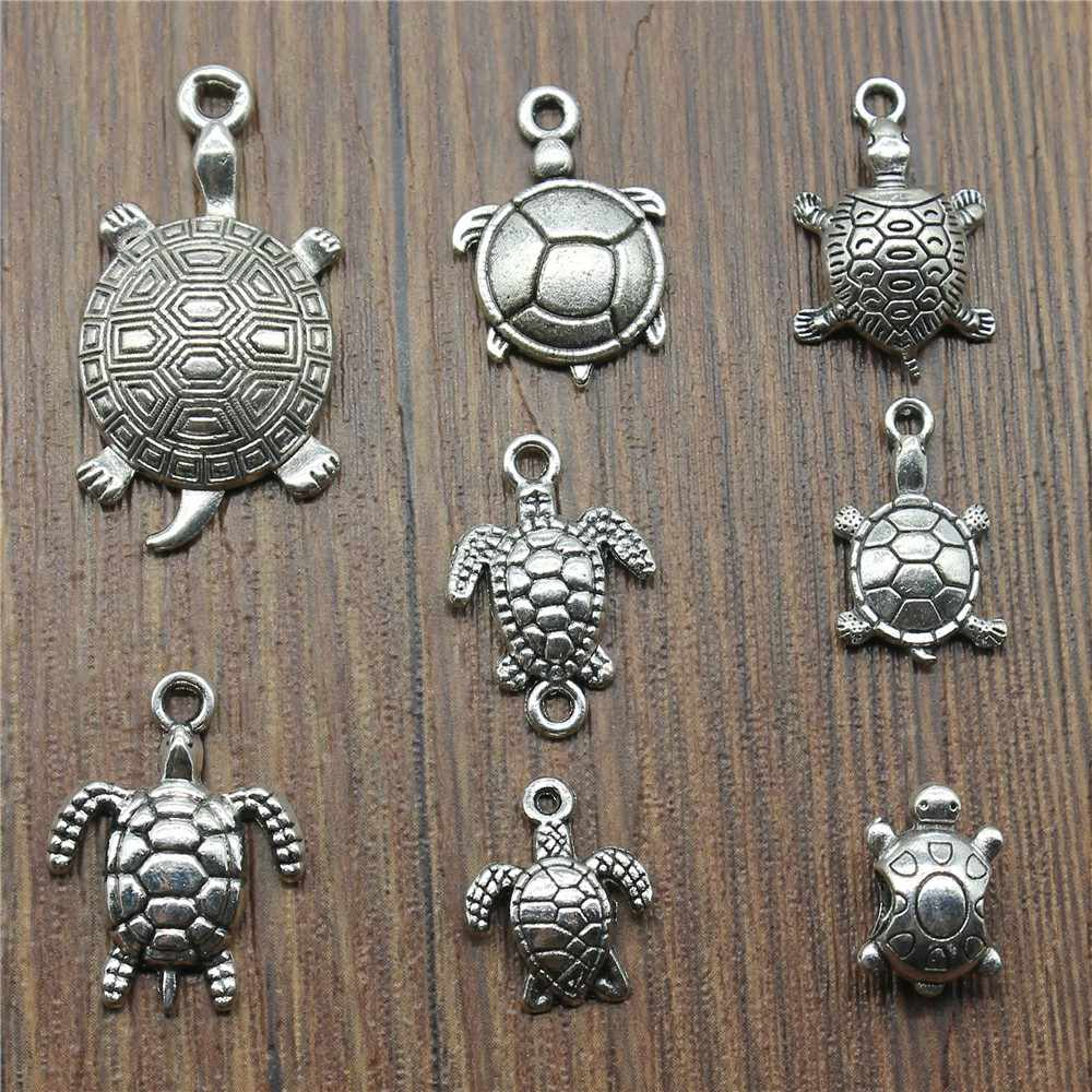15pcs Tortoise Charms Antique Silver Plated Sea Turtle Pendant Charms Turtle Charms Jewelry Accessories Craft