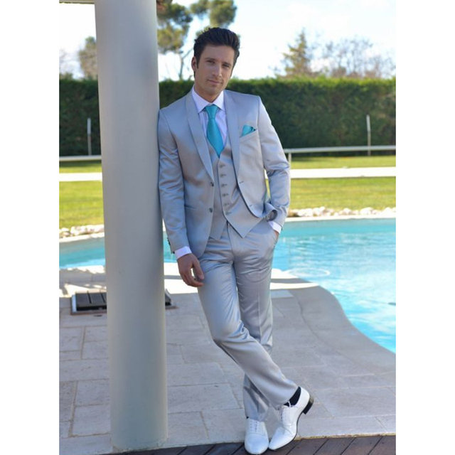 Custom Made Light Blue Men Suits Slim Fit Groom Tuxedos 3 Pieces ...