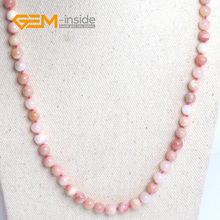 Charm Natural Precious Stone Pink Opal Gem Stone Round Beads NecklaceDIY Jewelry For Women Yoga Free Shipping For Christmas Gift