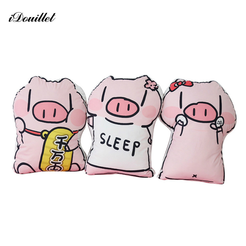 iDouillet Cartoon Cute Pig Throw Cushion Stuffed Doll Pillow Funny Bed Nursery Decoration Play Toy Baby Girl Cuddle Pillows Big