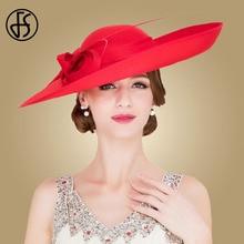FS Royal Red Dames Bruiloften Hoeden Fascinators Vrouwen Zwart Grote Grote Rand Kentucky Derby Kerk Fedora Party Dress Sinamay Hoed