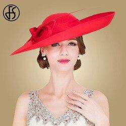 FS Royal Red Signore Matrimoni Cappelli Fascinators Donne Nero di Grandi Dimensioni Big Brim Kentucky Derby Chiesa Cappelli stile Fedora e borsalino Vestito Da Partito Sinamay Cappello