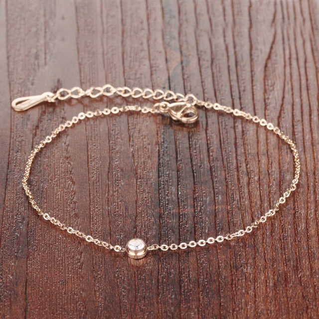 AAA+ Cubic Zirconia Woman Anklets Casual/Sporty Rose Gold Color Stainless Steel Women Ankle Bracelet Jewelry GZ013