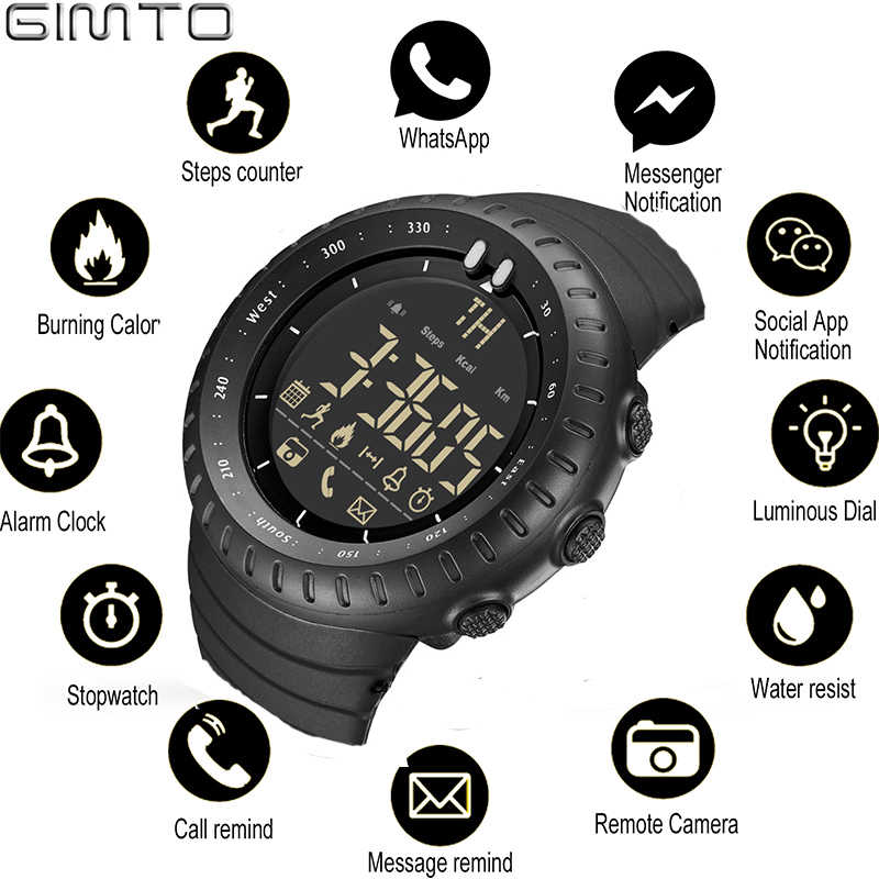 GIMTO Sport Smart Watch Men Ios Android Chronograph Stopwatch Electronics Watches Digital Bluetooth Watch Smartwatch Pedometer