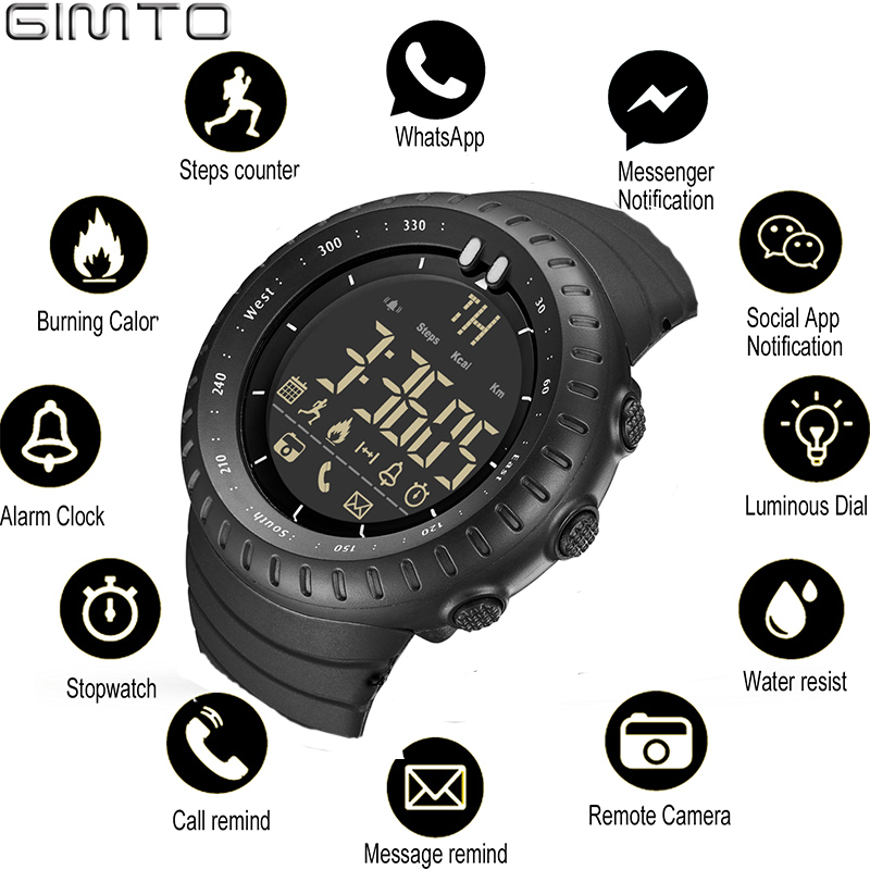 GIMTO Smart Watch Men Bluetooth Pedometer Stopwatch Waterproof Digital LED Electronics Sport Watches For Men Smartwatch relogios
