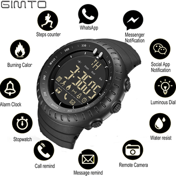 GIMTO Sport Smart Watch Men Ios Android Chronograph Stopwatch Electronics Watches Digital Bluetooth Watch Smartwatch Pedometer clock ogeda smart men watch ex28 waterproof bluetooth wristwatch sport pedometer stopwatch call sms reminder for ios android