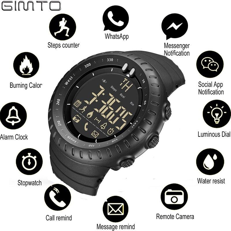 GIMTO inteligente reloj Bluetooth podómetro cronómetro Digital LED electrónica relojes deportivos para hombre reloj relogio masculino