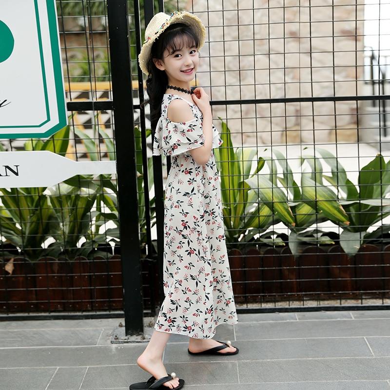dcc78275b0ee Summer Dress For Girls Bohemia Style Girls Beach Dress Kids Off Shoulder Girls  Dresses Teenage Girls