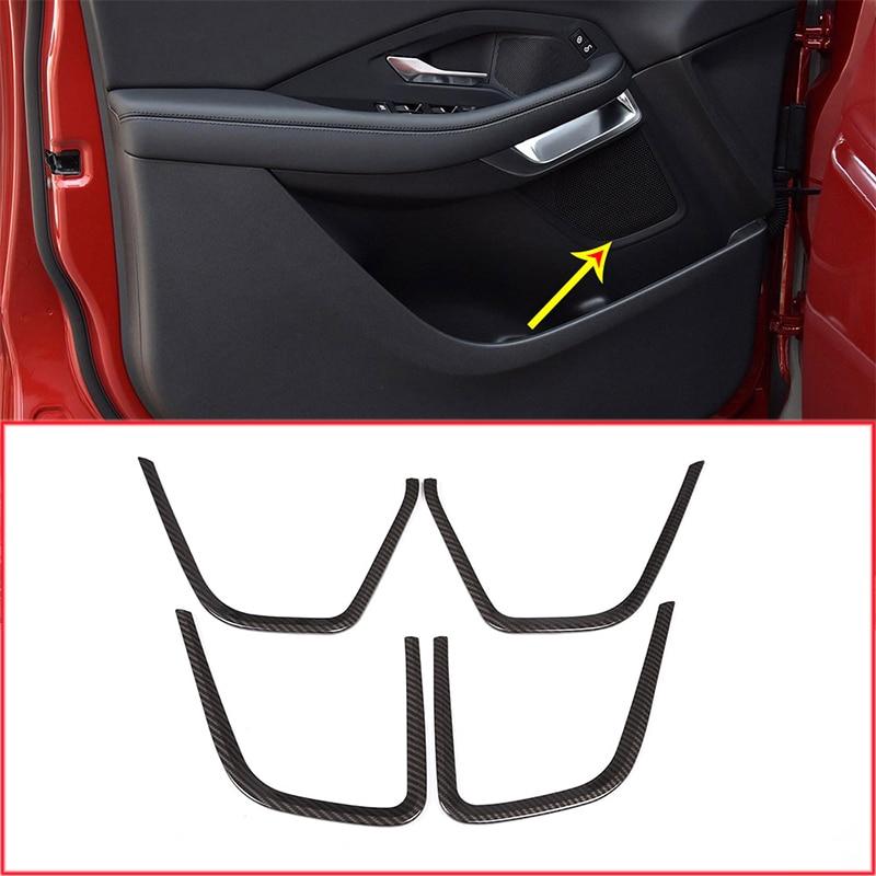 4pcs Carbon Fiber Style ABS Car Interior Door Speaker Frame Trim For Jaguar E Pace 2018