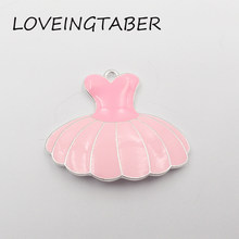 Newest 44mm*36mm 10pcs /lot Full Enamel Pink Ballet Skirt Pendant For Kids Neckalce Making(China)