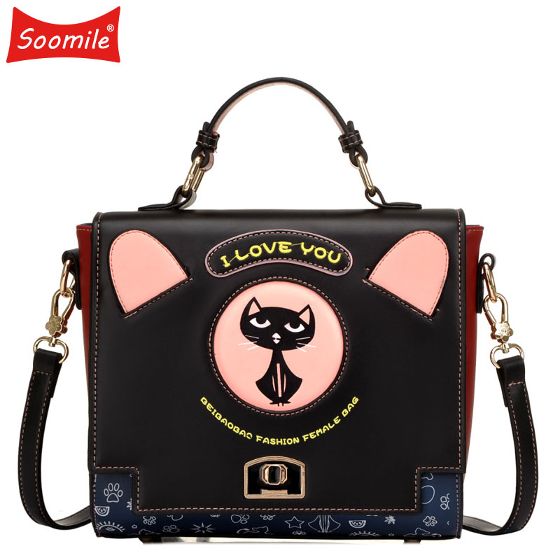 Soomile New Cute Cat Handbag Women Fashion Single Shoulder Bag Big Printing Girl Messenger Bags High Capacity Vintage Lady Bags free shipping new fashion brand women s single shoulder bag lady messenger bag litchi pattern solid color 100