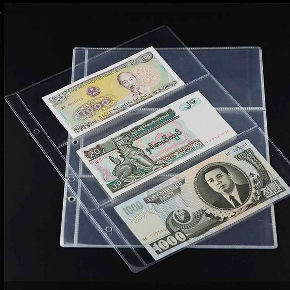 10Pcs/set Money Banknote Paper Money Album Page Collecting Holder Sleeves 3-slot Loose Leaf Sheet Money Album Protection
