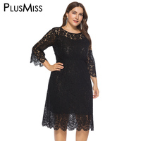 PlusMiss Plus Size 6XL 5XL 4XL Sexy Lace Crochet Elegant Party Dresses Women Big Size Autumn Fall Red Black Knee Length Dress