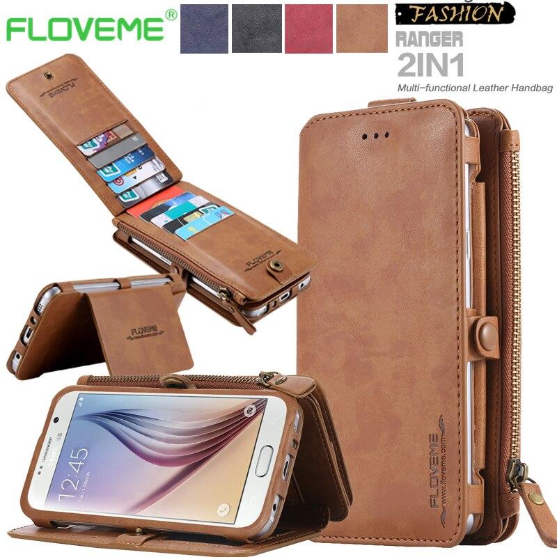 bilder für Brieftasche Fall für Galaxy S8 Plus Vintage Gefaltet Multifunktionale 2 in 1 Flip Leder Brieftasche Fall für Samsung Galaxy S8 S7 S6 Rand