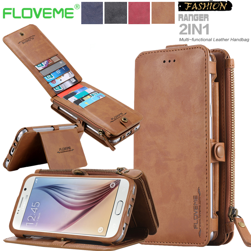 Wallet Case for Galaxy S8 Plus Vintage Folded Multi Functional 2 in 1 Flip Leather Wallet Case for Samsung Galaxy S8 S7 S6 Edge