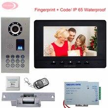 "Fingerprint Code Intercom System 7"" Color Video Intercom For a Private House Video Camera IP65 Waterproof + Electronic lock Kit"