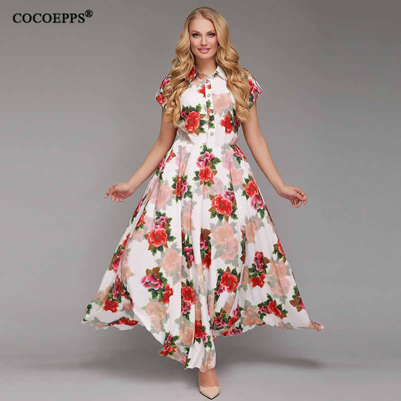 0b45376259cc3c6 2018 летнее женское длинное платье с цветочным принтом из шифона плюс размер  платье элегантный Бохо вечерние