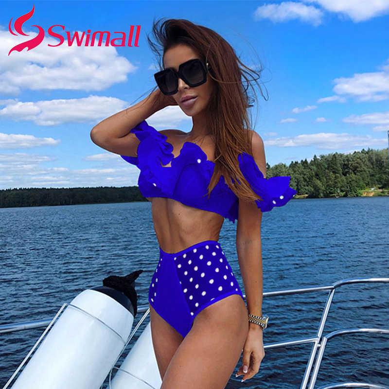 Sexy Bikini 2019 jedno słowo kołnierz wzburzyć strój kąpielowy kobiety wysoka talia mesh retro fala punkt suimming kąpielowy monokini push up kostium kąpielowy