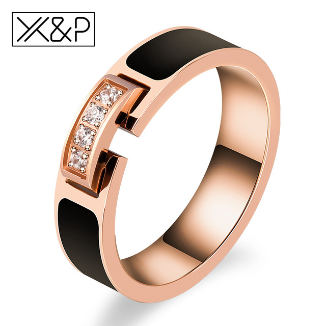 X&P New Arrival Luxury Zircon Crystal Inlay Black Finger Rings for Women Men Fas