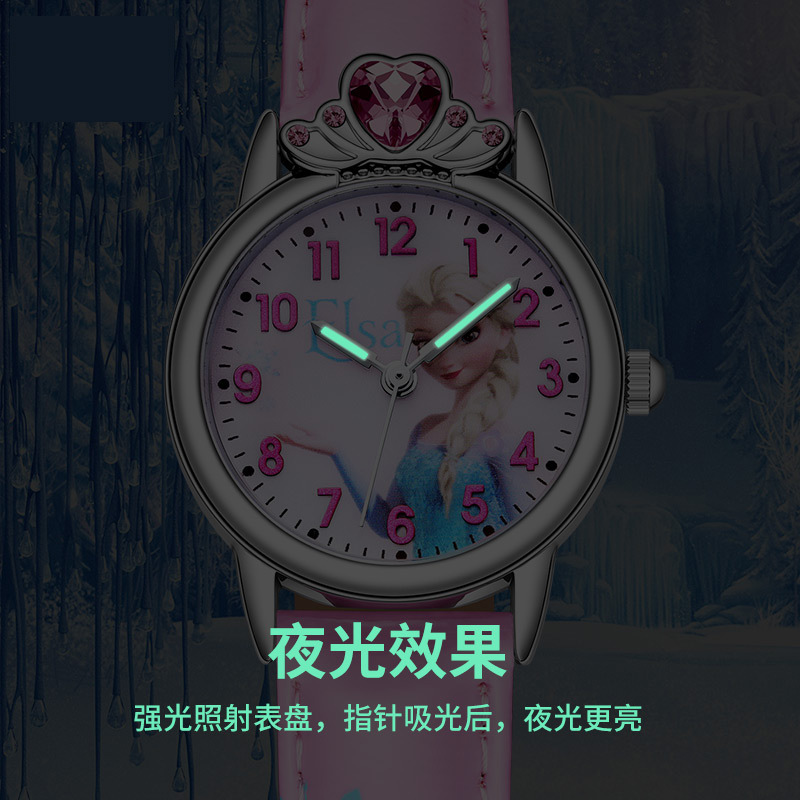 Children's Watches Rapture Disney Frozen Princess Elsa Sofia Watch Girls Pink Gift Present Watch Luxury Crown Design Romantic Leather Quartz Watch Mk-14045 Refreshment