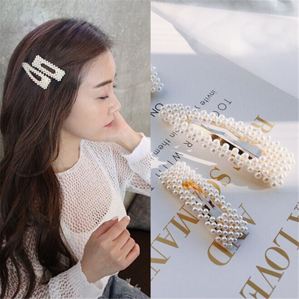 2019 Hot Fashion 4 Style Women Pearl Hair Clip Snap Hair Barrette Stick Hairpin Hair Styling Accessories For Girls Dropshipping(China)