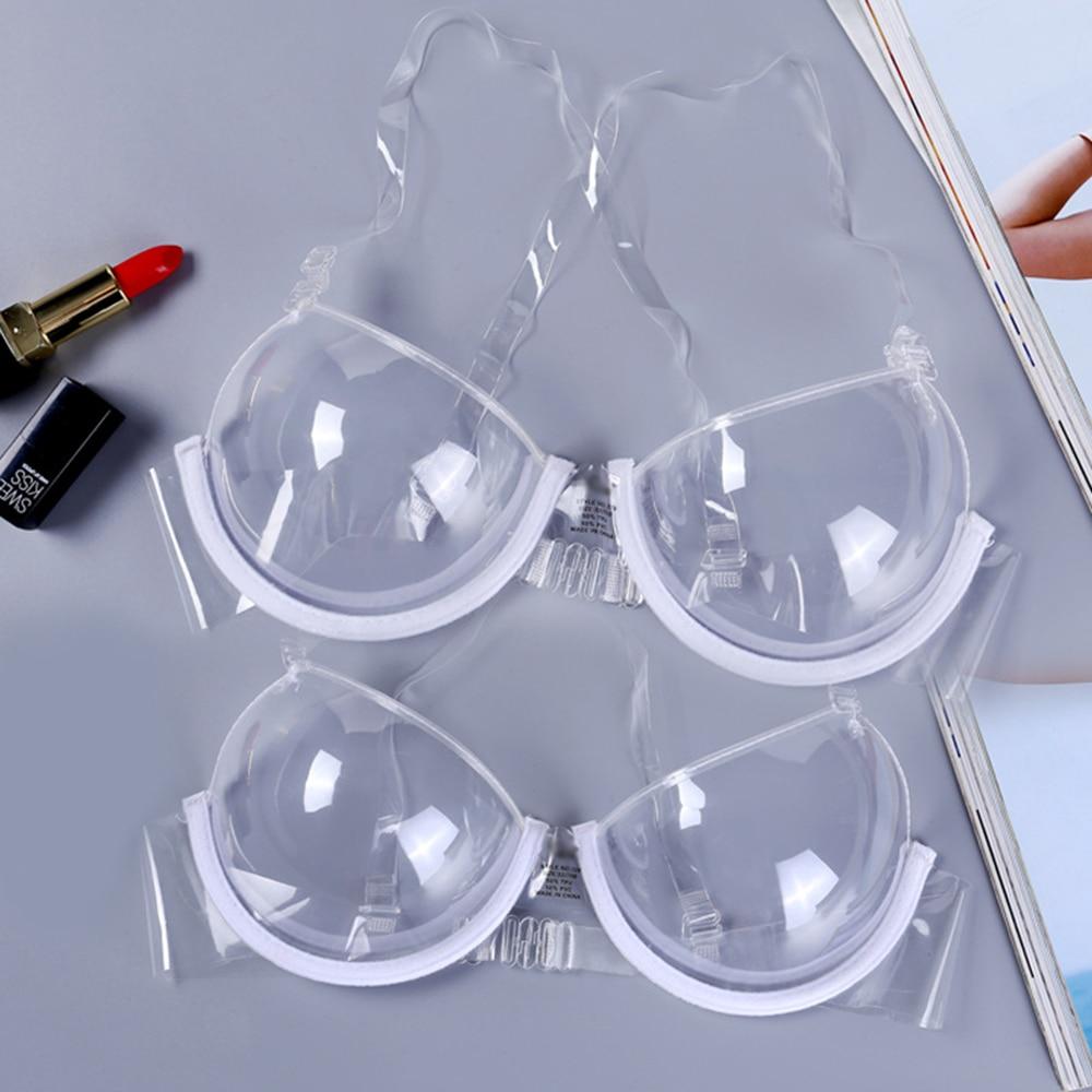 Women Sexy Transparent Bra Plastic Clear Push Up Bra Ladies Bralette Brassiere Ultra-Thin Strappy Transparent Adjustable New