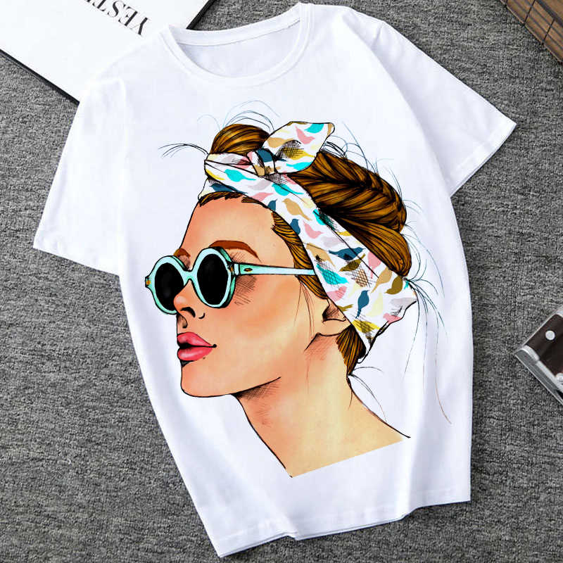 Plus Size Vrouwen Zomer Vogue Print Lady Casual T-shirt Tops Harajuku Streetwear Korte Mouw O-hals Tops Tees Camisetas Mujer