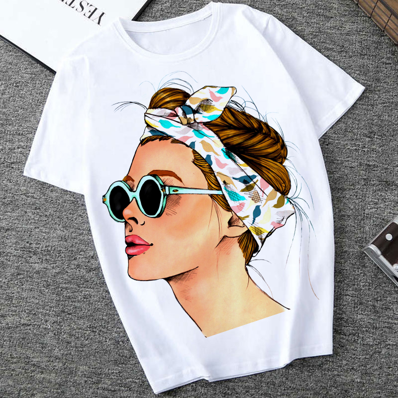 Plus Size Women Summer Vogue Print Lady Casual T-shirt Tops Harajuku Streetwear Short Sleeve O-Neck Tops Tees Camisetas Mujer