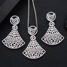 SisCathy New Trendy Women Jewelry Set Charm Fashion Cubic Zirconia Big Pendant Necklace/Errings Wedding India Bridal Jewelry Set недорого